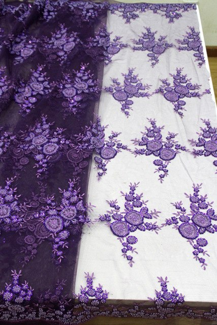 French Tulle Lace With Beads Fashion African Lace Fabric 2017 High Quality Lace Embroidery Nigerian Lace Fabrics purple