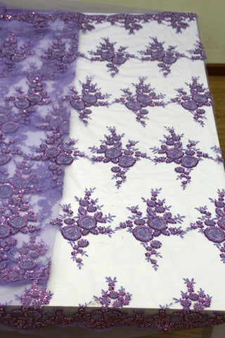 Image of French Tulle Lace With Beads Fashion African Lace Fabric 2017 High Quality Lace Embroidery Nigerian Lace Fabrics purple