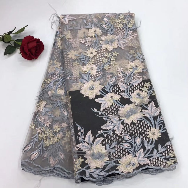 African Lace fabric Hot Sell Mesh 2018 New Arrival Plain white Color african cord Lace /guipure lace Fabrics High Quality