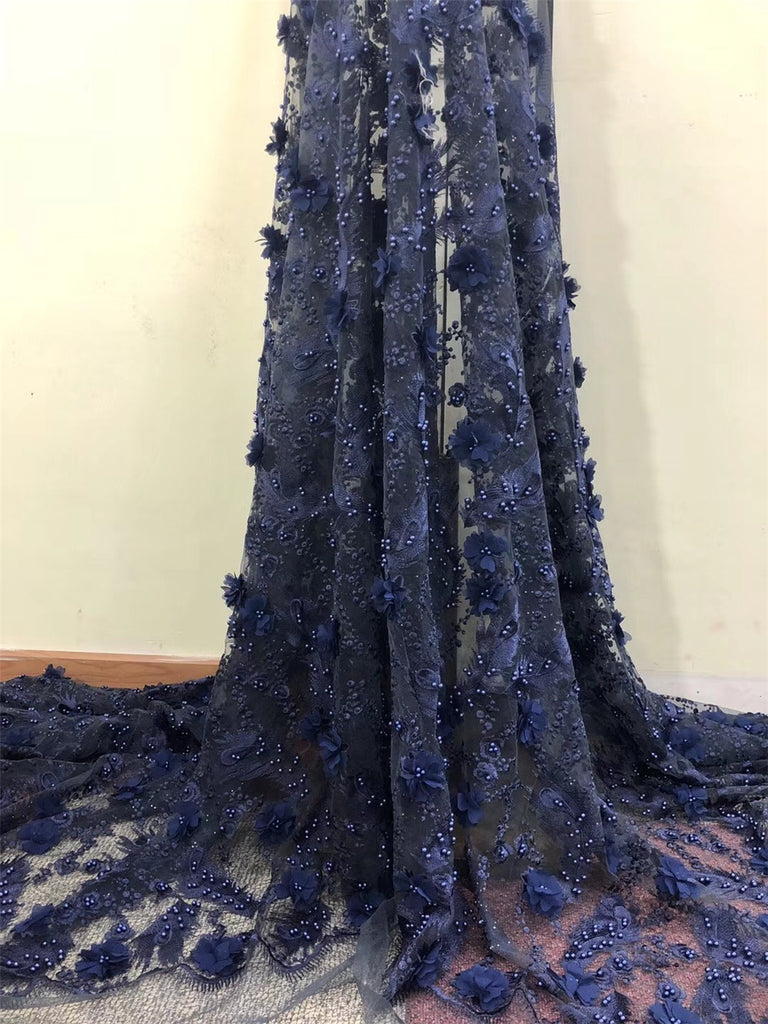 High Quality +Beads navy blue African Lace Fabrics ASO EBI Nice French Net Embroidery Tulle Lace Fabric For Nigerian Dress