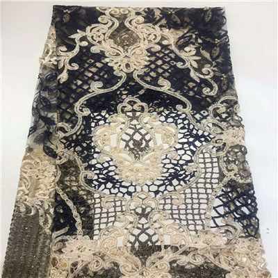 2018 Latest Lace Fabric High Quality African Lace Fabric French Tulle Net Lace Fabric With Stones For Dress HJ971-2