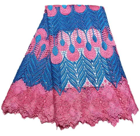 Image of Newest Blue+Pink High Quality African Lace Fabric Embroidery African Guipure Cord Lace With Stones Water soluble Lace Fabric