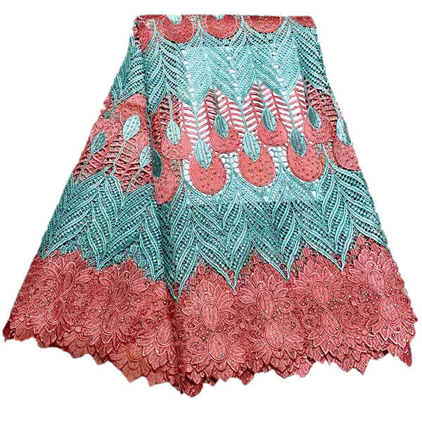 Newest Blue+Pink High Quality African Lace Fabric Embroidery African Guipure Cord Lace With Stones Water soluble Lace Fabric