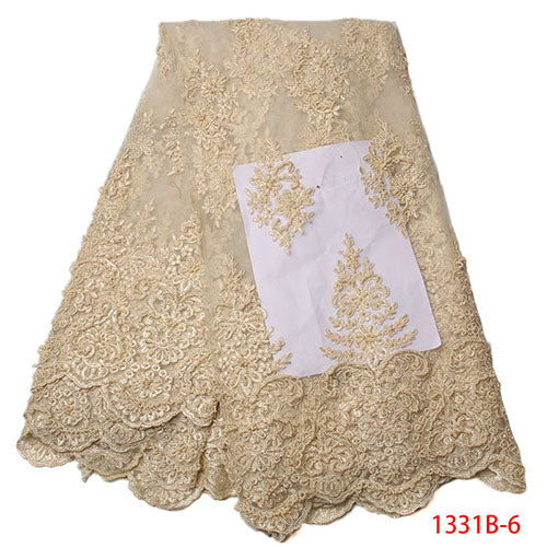 3d Lace Fabric Luxury Fabric Nigerian French Tulle Lace Fabric Dribbling Embroidered African Beaded French Lace Fabric XZ1331B-1