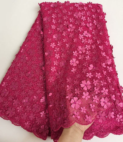 Image of Unique classic hot pink French Lace cord embroidery African tulle lace fabric with small sequins Allover appliques beads