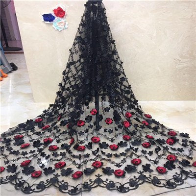 3d african lace fabric 2018 high quality lace with beads red wedding lace fabric wholesale nigerian style 5yard/lot F1169-2