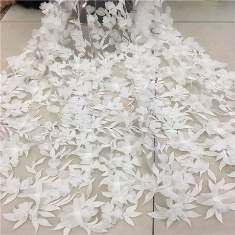 Image of African Lace Fabric 2018 High Quality Lace 3D Flower Lace Fabric Beautiful Applique Beads Lace For Wedding Dress G271-2