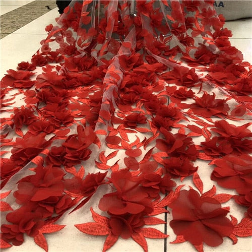 African Lace Fabric 2018 High Quality Lace 3D Flower Lace Fabric Beautiful Applique Beads Lace For Wedding Dress G271-2