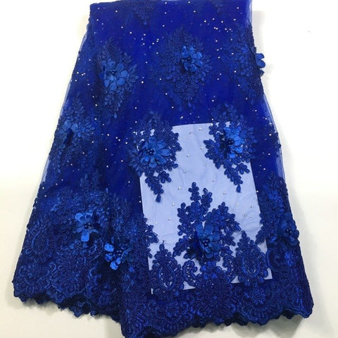 Image of 2018 High Quality African Lace Fabric 3D Flowers With Beaded Tulle Lace Fabric New Design Nigerian Tulle Lace Fabric M2608 Blue