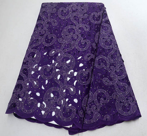 Image of purple African Lace Fabric High Quality 3d French Lace Fabric With Beads stone Embroidery Tulle Lace Fabric For Wedding