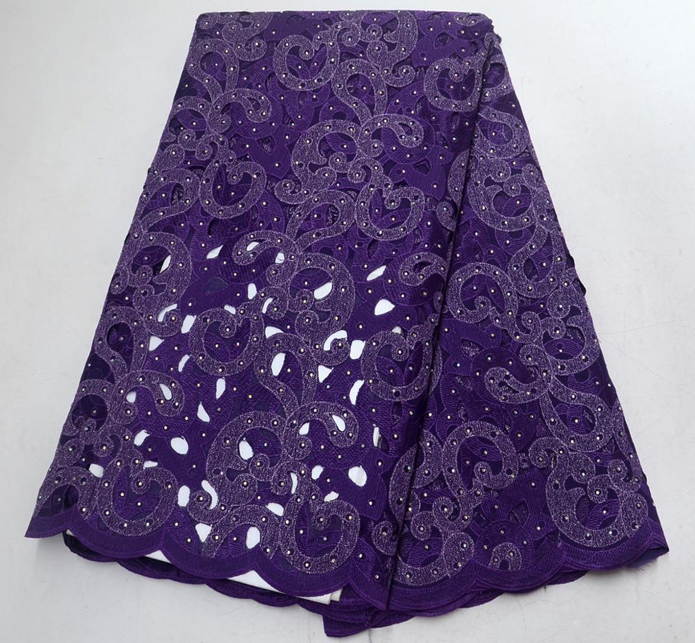 purple African Lace Fabric High Quality 3d French Lace Fabric With Beads stone Embroidery Tulle Lace Fabric For Wedding
