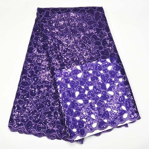 Image of purple Sequin Net Fabric High Quality Hand cut Organza Lace Fabrics 2018 Embroidered African Sequin Lace Fabrics For Women party