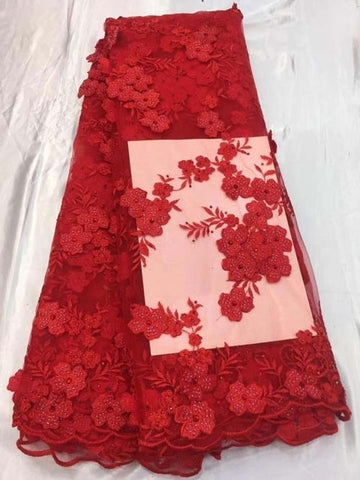 Image of red Small Flower African Bridal Lace Fabric 2018 High Quality Lace Material 3D French Lace Applique For Nigerian Dress