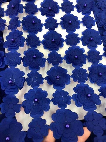 Image of royal blue 3D Latest French Lace Fabric High Quality Tulle Lace African Nigerian Net Lace Fabric Embroidery For African Women