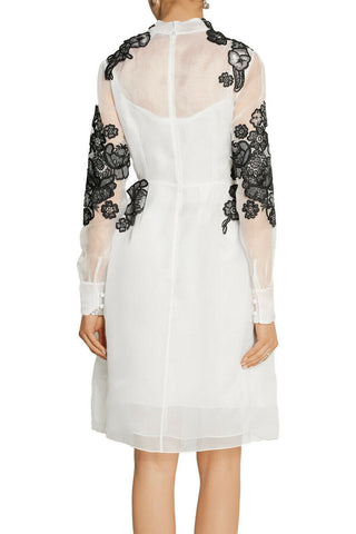 Image of ERDEM Effie Floral Embroidered Silk Organza Cocktail Dress IT 38 / UK 6 / US 2