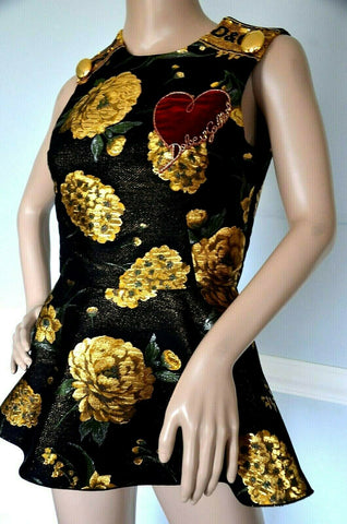 Image of $2,075 Dolce & Gabbana Embellished Embroidered Dress Brocade Top US 4 6 IT 42