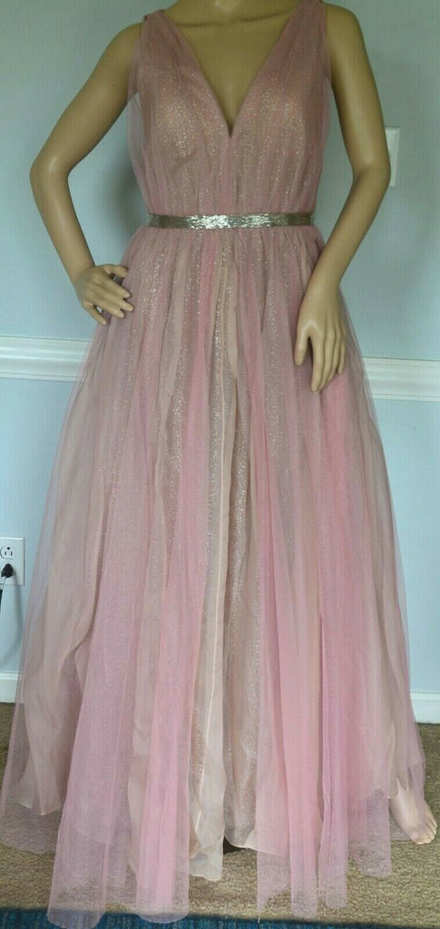 $7,490.00 J Mendel Pink Sequin Embellished Tulle Overlay Dress Gown IT 40 / US 4