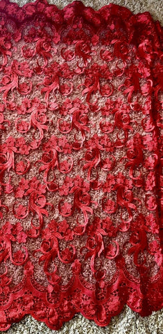 Image of Gorgeous Red Embroidered Flowers Lace Fabric. Beaded With Pearls Lace, BTY