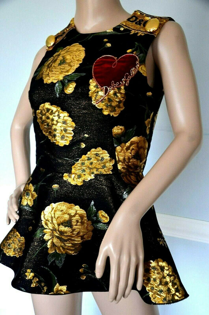$2,075 Dolce & Gabbana Embellished Embroidered Dress Brocade Top US 4 6 IT 42