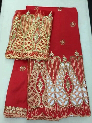 Red/Gold Silk Satin George Fabric With Matching Blouse.Bridal Effect With Pear