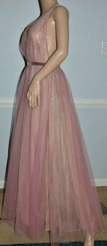 Image of $7,490.00 J Mendel Pink Sequin Embellished Tulle Overlay Dress Gown IT 40 / US 4