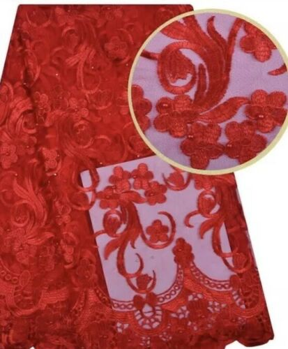 Gorgeous Red Embroidered Flowers Lace Fabric. Beaded With Pearls Lace, BTY