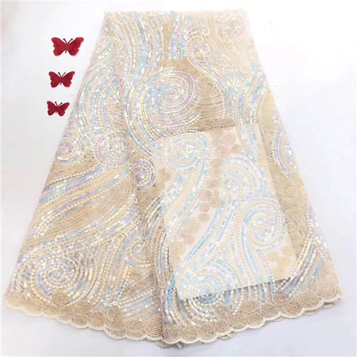 sequins french lace Super neat embroidery African tulle  mesh lace fabric 5 yards shiny high quality    JIAJIANO141
