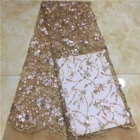 Image of shining  2019 Embroidery Nigerian french  Lace Fabric.High Quality  French Tulle Lace Fabric For Women   XZXAU061