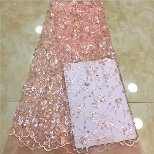 shining  2019 Embroidery Nigerian french  Lace Fabric.High Quality  French Tulle Lace Fabric For Women   XZXAU061
