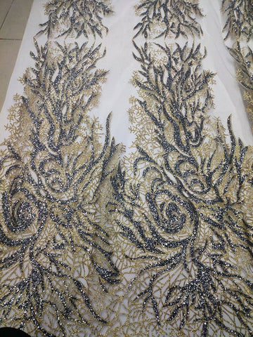 Image of silver glitter fabric African Rhinestones lace fabric French 2017 Renda For Wedding Embroidery 5 yard/lot