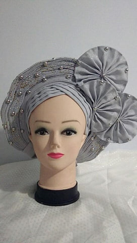 Image of tippet with headtie sky blue color African Already Make Sego Headtie Ladies Party Or Wedding Auto Gele 1 PC/bag