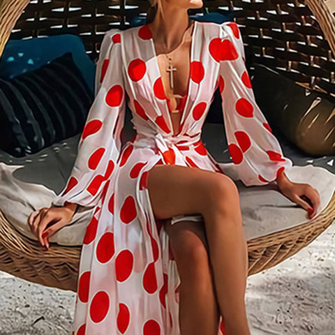 Image of vintage women long cover up dress split sexy v neck beach maxi dresses robe femme vestiods long sleeve party dinner dress 2020