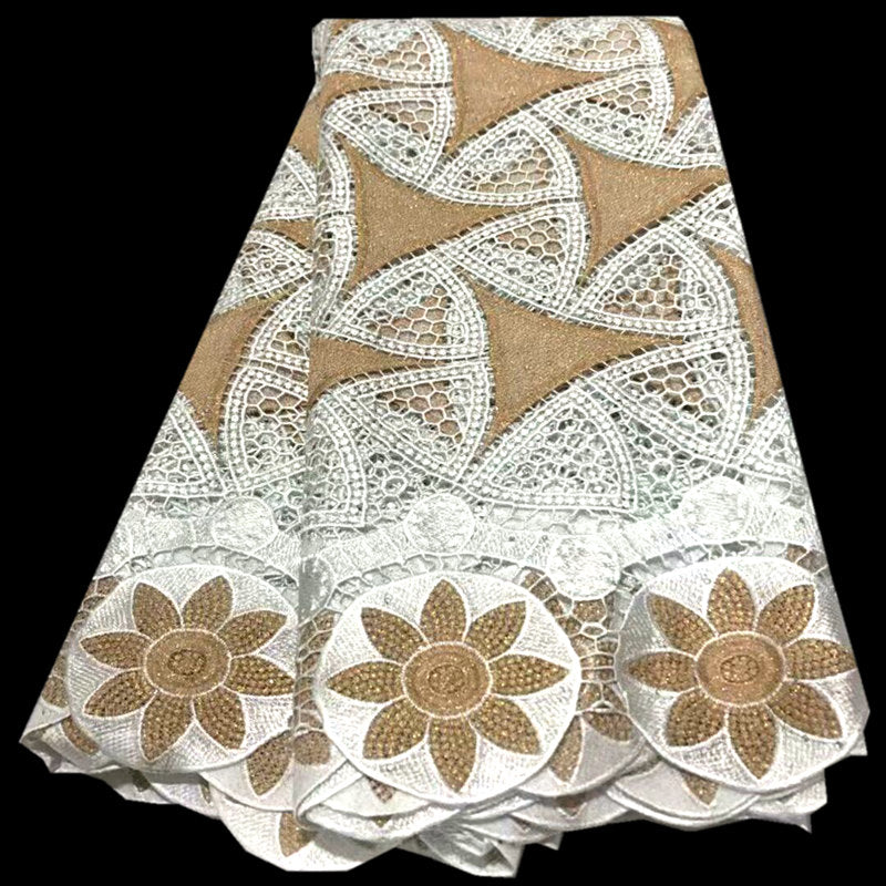 white&gold Guipure Lace Fabric 2020 Newest Nigerian Lace Fabric African French Water Soluble Cord Lace For Wedding mv615