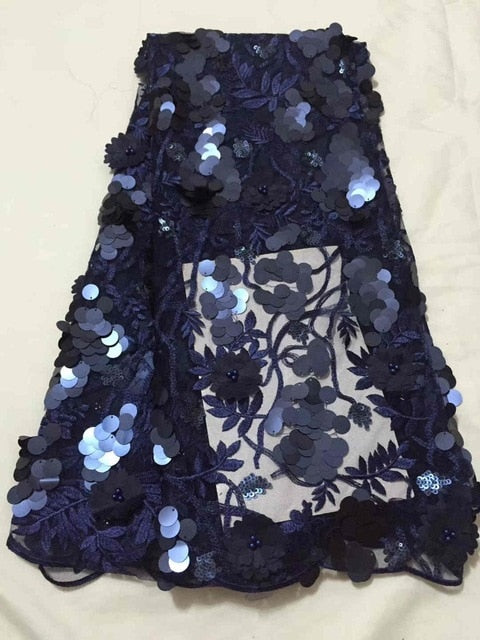 whoesales Nigerian French net Lace Fabric2018 High Quality African sequins Beaded Lace Fabric For Christmas Party Dress MJKY486