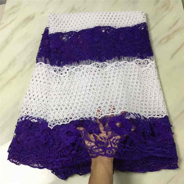 wholesales Latest African Guipure Lace Fabric High Quality2018Cord Lace with Beaded Fabric For Party Dresses MJKY2987