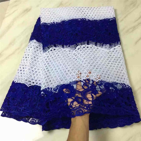Image of wholesales Latest African Guipure Lace Fabric High Quality2018Cord Lace with Beaded Fabric For Party Dresses MJKY2987