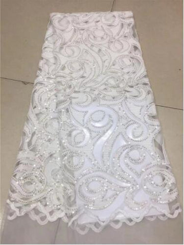 Image of yellow African Lace Fabric 2018 High Quality French Velvet Lace Fabric With Sequin Lace Fabric For Wedding Party