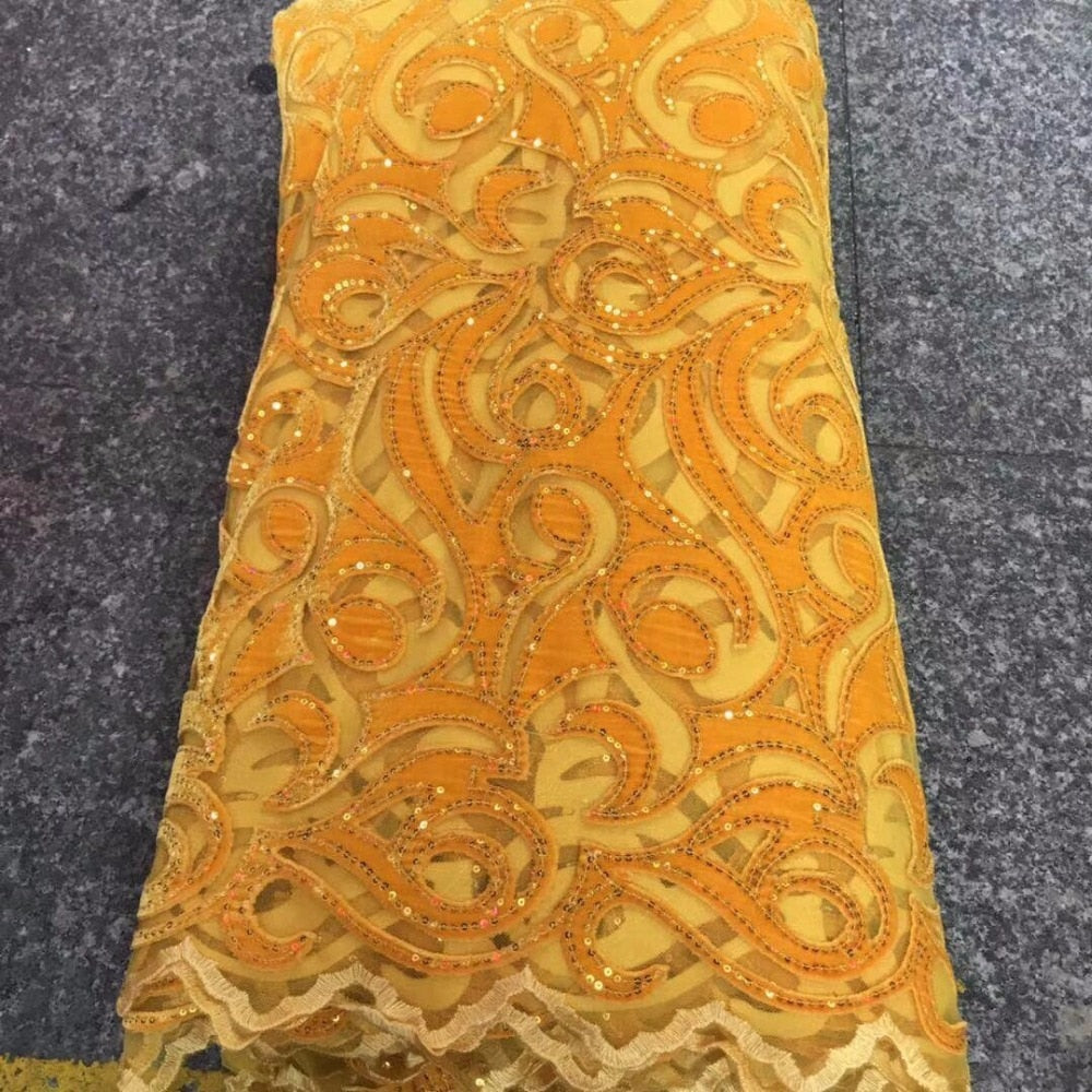 yellow African Lace Fabric 2018 High Quality French Velvet Lace Fabric With Sequin Lace Fabric For Wedding Party