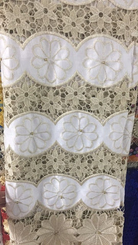 Image of yellow african guipure lace with beads bazin riche getzner 2018 beaded guinea brocade fabric high quality for wedding AD400