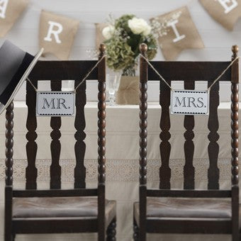 Ginger Ray Vintage Mr & Mrs Chair Signs