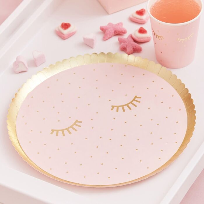 Ginger Ray Pink Pamper Party Paper Plates