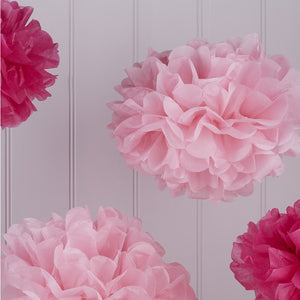 Pink Tissue Paper Pom Poms Pack of 5