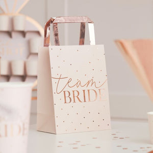 Ginger Ray Pink Team Bride Rose Gold Foiled Hen Party Bags Pack of 5