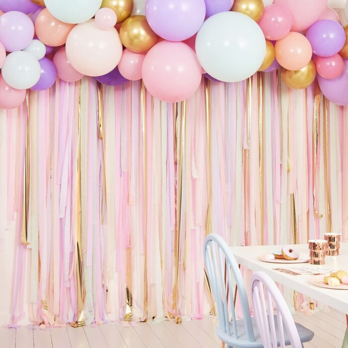 Ginger Ray Blush Pastel Streamer And Balloon Party Backdrop