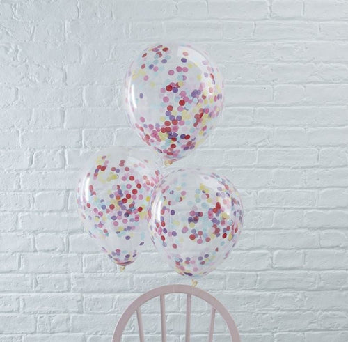 Ginger Ray Bright Confetti Filled Balloons Pack of 5