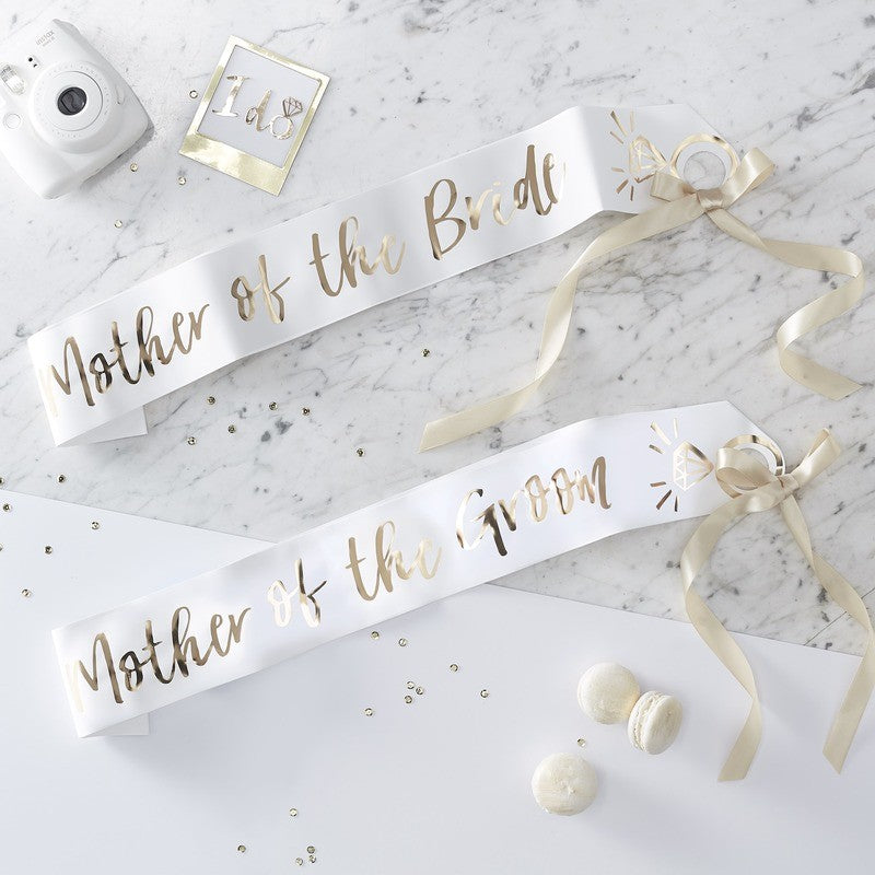 Ginger Ray White & Gold Mother of the Bride and Groom Sashes