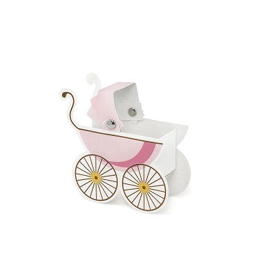 Pram favour Boxes Pink Pack of 10