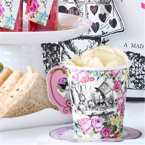 Truly Alice in Wonderland Pink Theme Paper Cups & Saucers Pack of 12