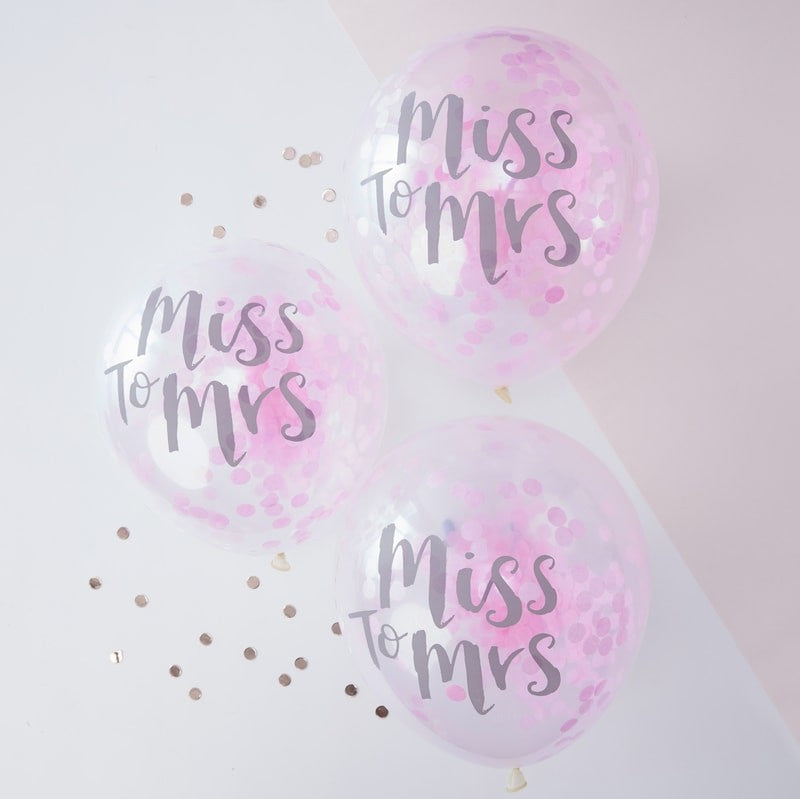 Ginger Ray Team Miss to Mrs Confetti Balloons Pack of 5