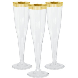 Premium Gold Trim Champagne Flutes Pack of 8